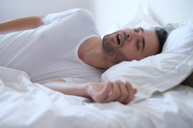 man mouth breathing while sleeping